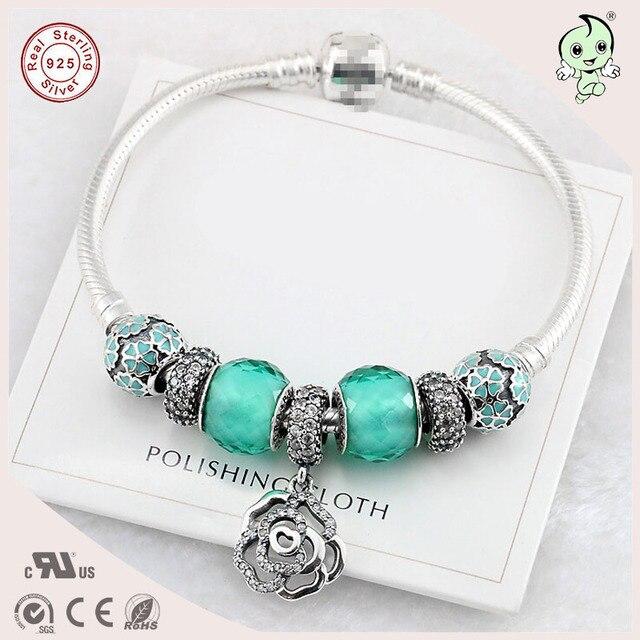 Verde na moda Estilo Contas de Vidro de Prata E Rosa Charme S925 Pulseira De Prata Esterlina Para Meninas