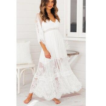 0d810fb1132b0 Ordifree 2019 Yaz Boho Kadınlar Maxi Elbise Yarım Kollu Bölünmüş Beyaz  Dantel Uzun Tunik Plaj Elbise
