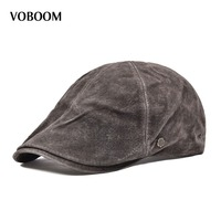 VOBOOM Genuine Leather Flat Caps Men Women Real Authentic Pigskin Ivy Cap Cabbie Breathable Beret Hats