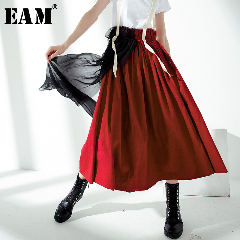 [EAM] 2020 New Spring Summer High Elastic Waist Hit Color Wine Red Mesh Stitch Strap Half-body Skirt Women Fashion Tide JU731