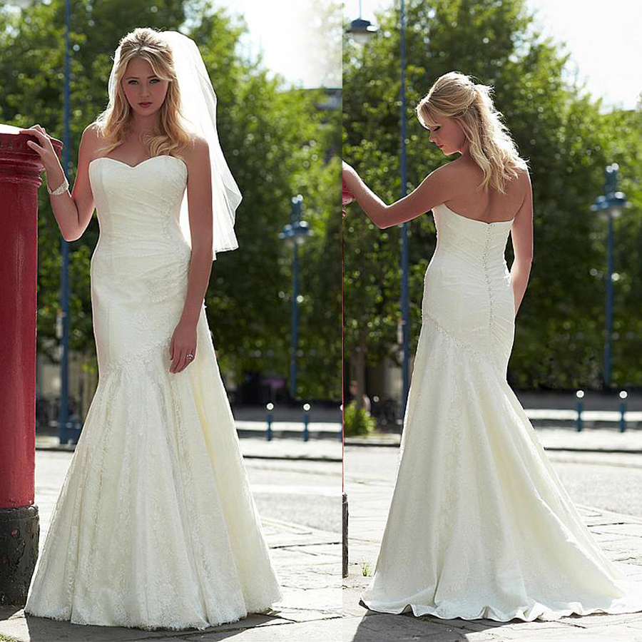 Gorgeous Lace Sweetheart Neckline Mermaid Wedding Dresses With Lace Appliques Ruched Lace Floor Length Bridal Dresses
