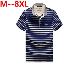 Plus size 9XL 7XL 8XL 6XL 5XL 4XL Summer New Men's POLO Shirt Fashion Striped Style Short-sleeved Polo Shirt Slim Large Size