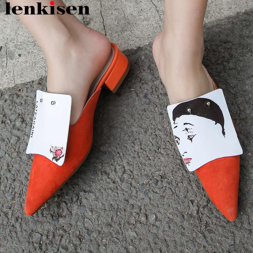 Lenkisen superstars genuine leather mixed color chunky med heels slip on mules pumps pointed toe oxford