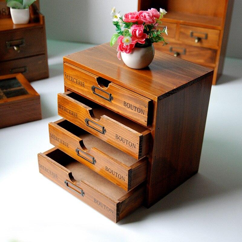 Rétro boîte de rangement en bois étagères boîtes en bois pour bijoux conteneur organisateur étagères en bois étagère avec tiroirs