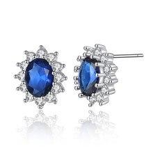 Бренд Королевский синий Kate queen Австрия Кристалл настоящий циркон принцесса серьги гвоздики модные ювелирные изделия девушка