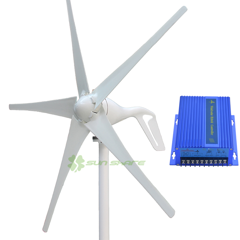 Free shipping New Updated 400w 3 or 5 blades small wind mill  low start up wind turbine generator , 12v/24v with wind controller