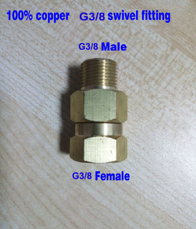 10pcs lot G3 8 swivel fitting connector adaptor 100 copper high pressure 350bar inlet G3 8