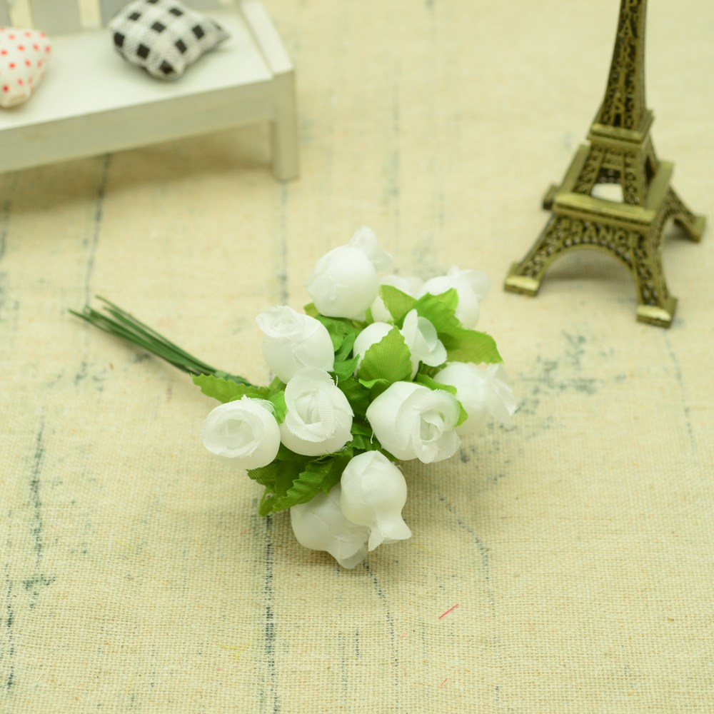 12pcs Silk Roses Artificial Flowers Bouquet for Home And Wedding Decoration Accessories 19