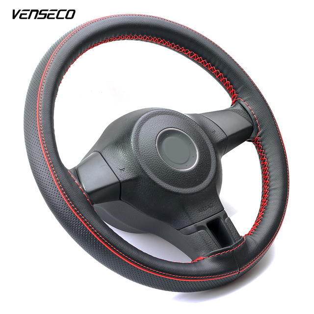 VENSECO airhole design steering wheel cover contrast piping decoration sewing steering cover the red line classic braid on wheel