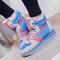 Manresar 2016 Nova Moda Plana Lacing Sapatos Casuais Sapatos de Lona Feminino Sapatos Trainer Inverno Quente Plush Dentro Ankle Boots Tamanho 35-40