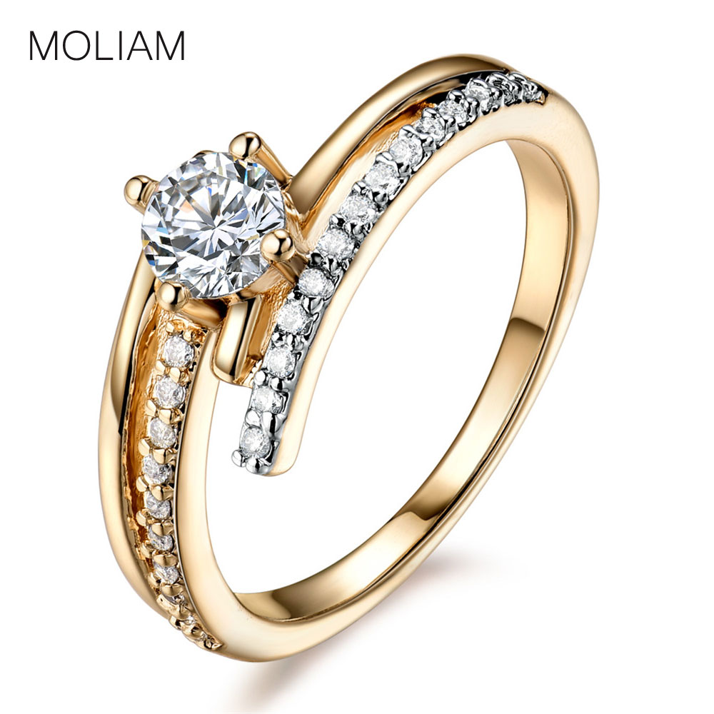 MOLIAM Hot Fashion Rings for Women Guldfarve High Quality Cubic Zirconia Wedding Ring Smykker med Små Gaveæske MLR596