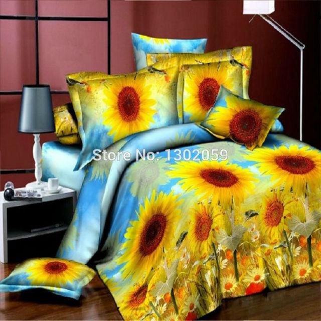 haute qualite 3d jaune fleur de tournesol total 4 pcs housse de couette drap de lit