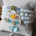 2015 (Mini Order 1) 6mm Opal Jade Bracelets Protein Gourd Pendant Female Bracelets Multilayer Chain Natural Stone Jewelry Making