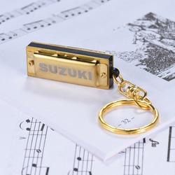 Suzuki Mini 5 Holes 10 Tone Harmonica Keychain Key of C Golden