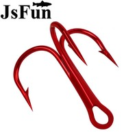 JSFUN 50PCS PACK Red Fishing Hook 2 4 8 10 Treble Hooks High Carbon Steel Barbed