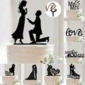 Nueva Mr Mrs Romantic Bride Groom Torta de La Boda Decoración de La Torta de Acrílico Negro Accesorios Para El Banquete de Boda Favorece