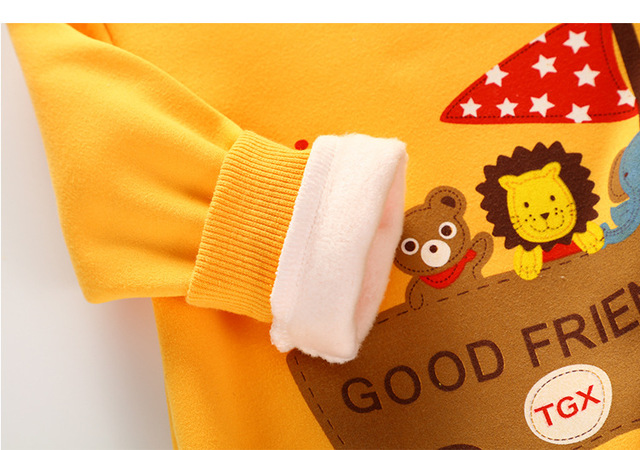 Unini-yun boys Hoodie baby girls fleece thick warm jackets Bear print hooded kids clothes sports clothes Beige color unisex top