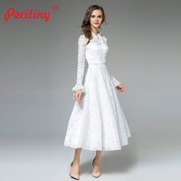Peritiny Autumn Winter Dresses Women 2018 Off White Long Flare Sleeve Empire Tunic Waist Elegant Slim Lace Party Dress Women