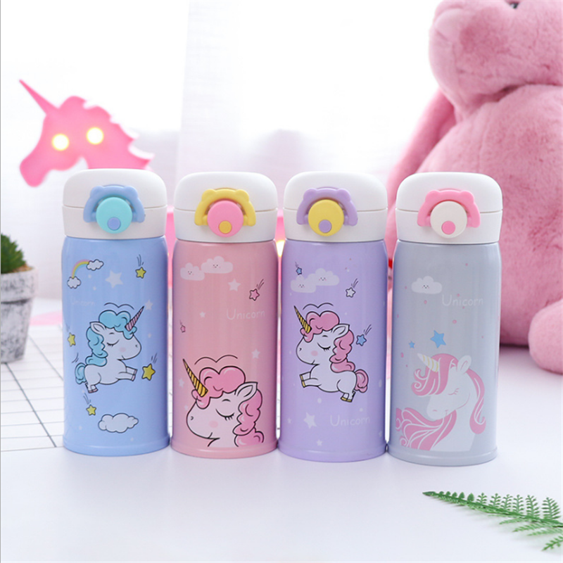 350ml and 500ml Thermal Flask and Unicorn Mug with Strainer for Warm Milk and Water