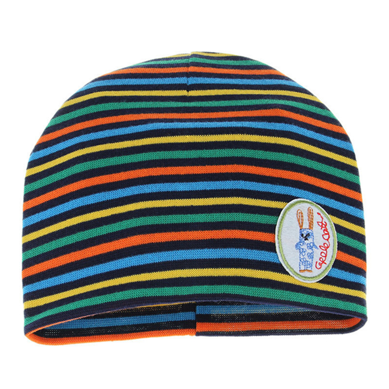 Colorful Striped Cotton Children Hats Girls and Boys Cute Soft Unisex Kids Caps Fashion Casual Winter Hats Skullies & Beanies newborn kids skullies caps children baby boys girls soft toddler cute cap new sale