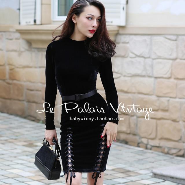9a0bbfccf3e 40- le palais vintage velvet long sleeve side slit ribbon wiggle pencil  dress in black women pinup plus size vestidos jurken