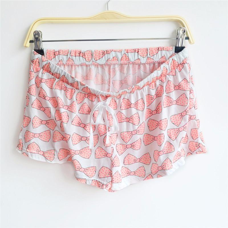 297b5fcf70c0 Women Bowknot Print Modal Cotton Pajama Shorts Women Loose Summer ...