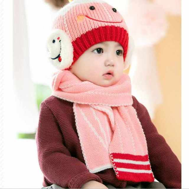 2e749e1b9a4 New Children Winter Hat and Scarf Set for Girls Boys Kids Knitted Hat Real  Pom Pom Ears Hats Baby Hat Christmas Gift