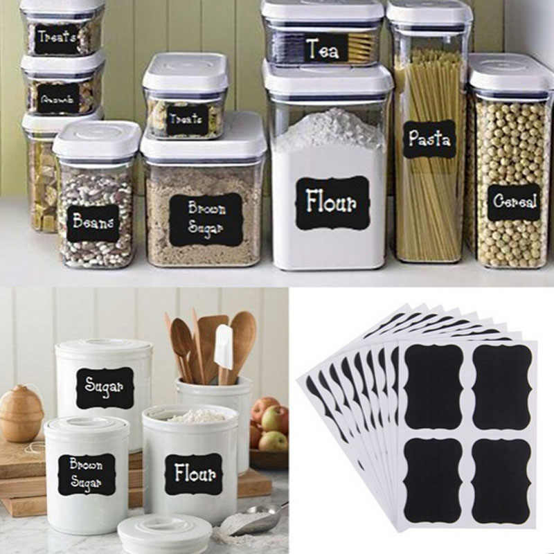 36 Pcs Fancy Black Board Keuken Jam Jar Label Etiketten Stickers 5 cm X 3.5 cm Decor Krijtbord Muursticker koelkast Sticker