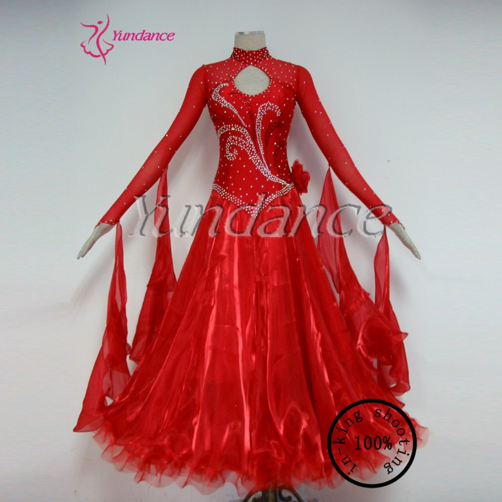 Ballroom Waltz Red Western Dance Dress For Girls In China 2016 B 11668