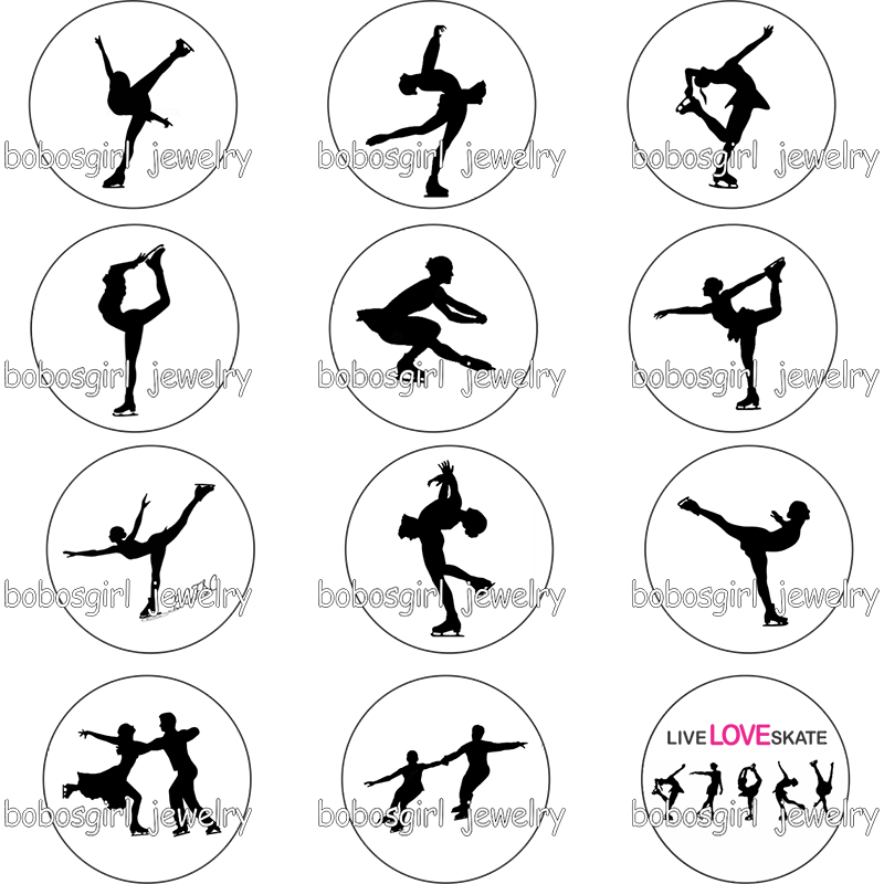 Sport Gymnastic Love Ice Skating Girls Gym Glass Snap Button   Photo Glass Cabochon         GS9260