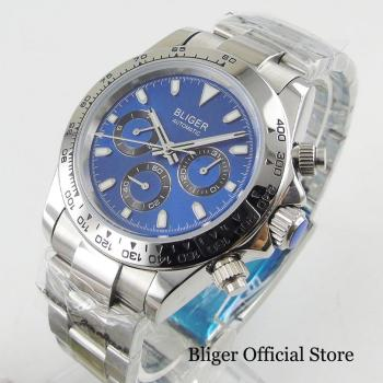 BLIGER Brand Blue Dial Auto Date Week Function Autoatic Mens Watch 39mm Wristwatch