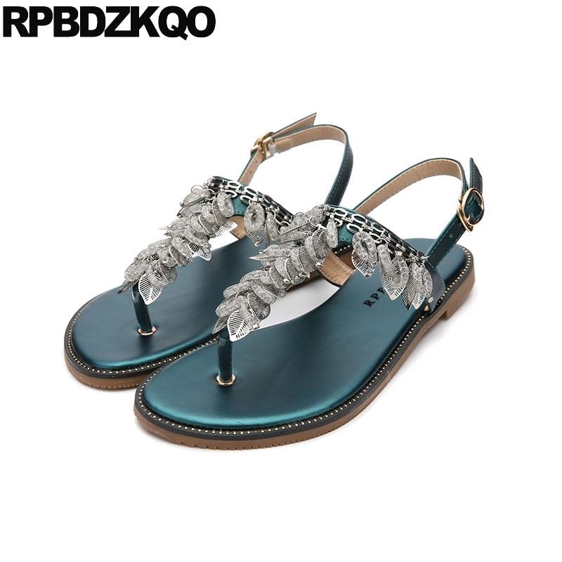 Diamond Thong Rhinestone Leaf Crystal Shoes Jewel Slingback T Strap Women  Sandals Flat Summer 2018 Elegant Wedding Turquoise 2df5160ce7db