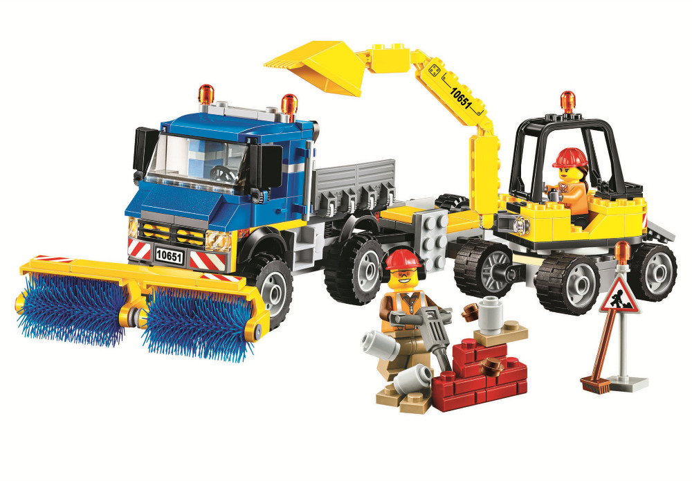 NEW City Vehicles Sweeper & Excavator Building Blocks Sets Bricks Kids Figures Toy Compatible Lepins & Bela Classic Model 2 sets jurassic world tyrannosaurus building blocks jurrassic dinosaur figures bricks compatible legoinglys zoo toy for kids