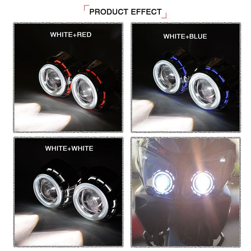 3 pouce Ronde HID Bi Xénon Objectif Du Projecteur avec CCFL Blanc Rouge Bleu Double Angel Eye Carénage Voiture Phare H1 h4 H7 6000 k Haute/Basse - 2