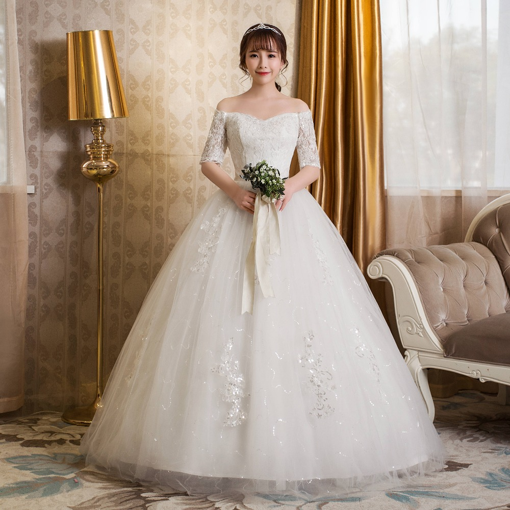 Simple Wedding Dresses Boat Neck: Long Half Sleeve Muslim Lace Flower Wedding Dress 2017