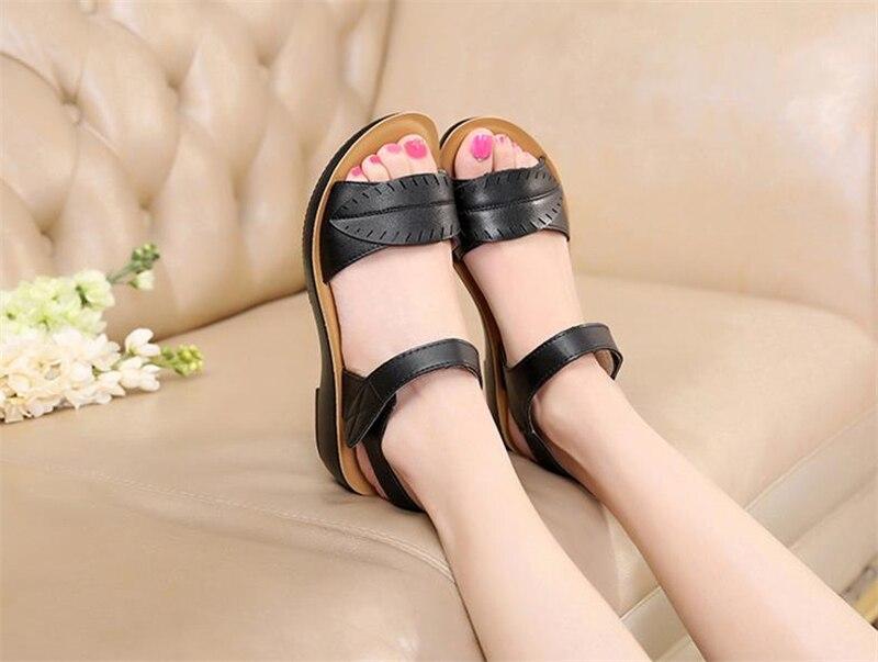 2018 new women sandals genuine leather mother's sandals flat female sandals soft bottom antiskid women sandals plus size 35-41 13