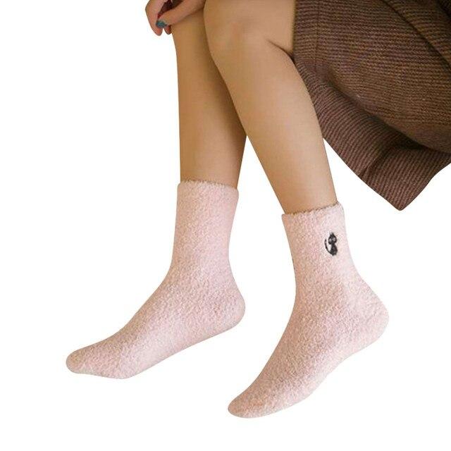 d66c3bdc6e 1 paia calze invernali delle donne di spessore corallo caldo cashmere  calzini cute cat ricamato birichino