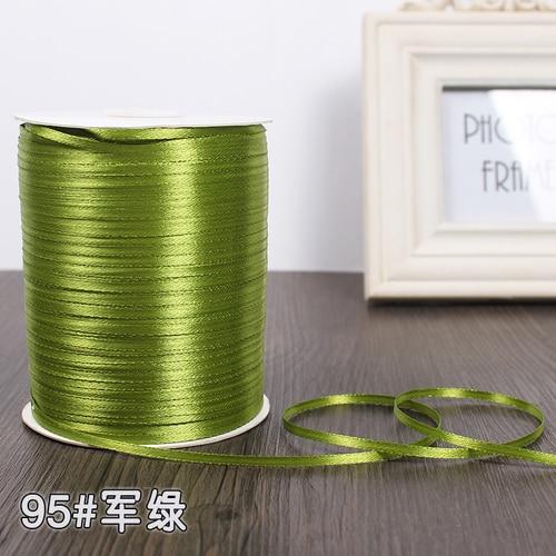 3 мм ширина бордовые атласные ленты 22 метра швейная ткань подарочная упаковка «сделай сам» ленты для свадебного украшения - Цвет: Army Green