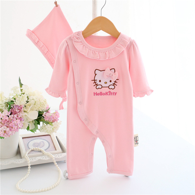 c75265ce1 Cute Baby Girl Ruffles Romper Newborn Children Hello Kitty Playsuit  Clothing Infant Kids girls Cartoon Jumpsuit Clothes with Hat