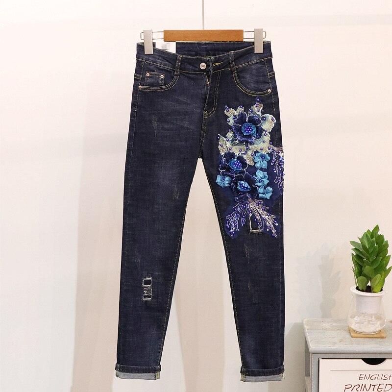 European Autumn New Fashion Sequins Flower Hole   Jeans   Women High Waist Small Feet Harlon Denim Pants Students Dark Blue   Jeans