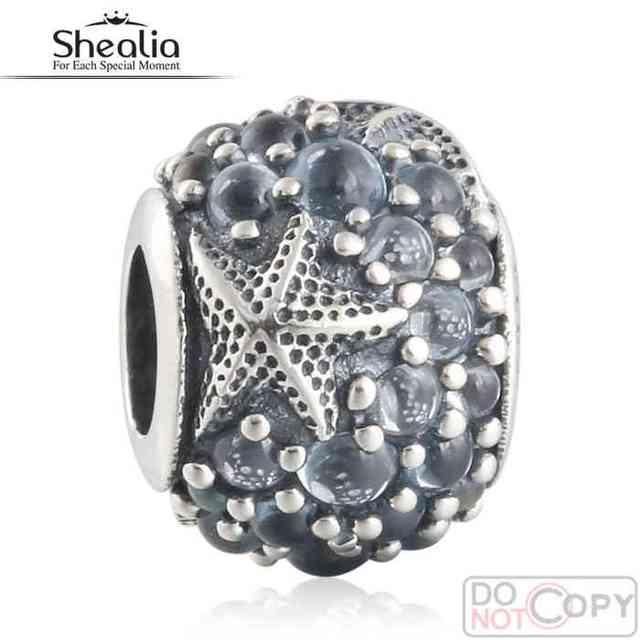 SHEALIA 2016 Summer Oceanic Starfish Charms Beads With Frosty Mint CZ 925-Sterling-Silver Nature Beads For Jewelry Making BD384