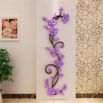 Flower Vine Wall Stickers Home Decor Large Paper Flowers Living Room Bedroom Wall Decor Sticker on The Wallpaper Diy Home Decals 7