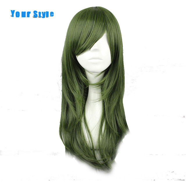 Your Style Synthetic Long Wavy Natural Hair Cosplay Wigs Women Green High Temperature Fiber
