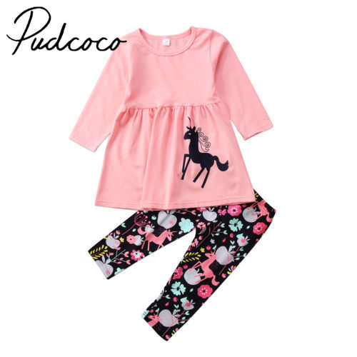 Lovely Toddler Kid Baby Girl Unicorn Tops Dress Floral Pants Outfits Set Clothes