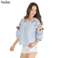 Vadim Cute Birds Embroidery Striped Pleated Shirts Tassles Half Sleeve Chic O Neck Blouse Fashion Casual