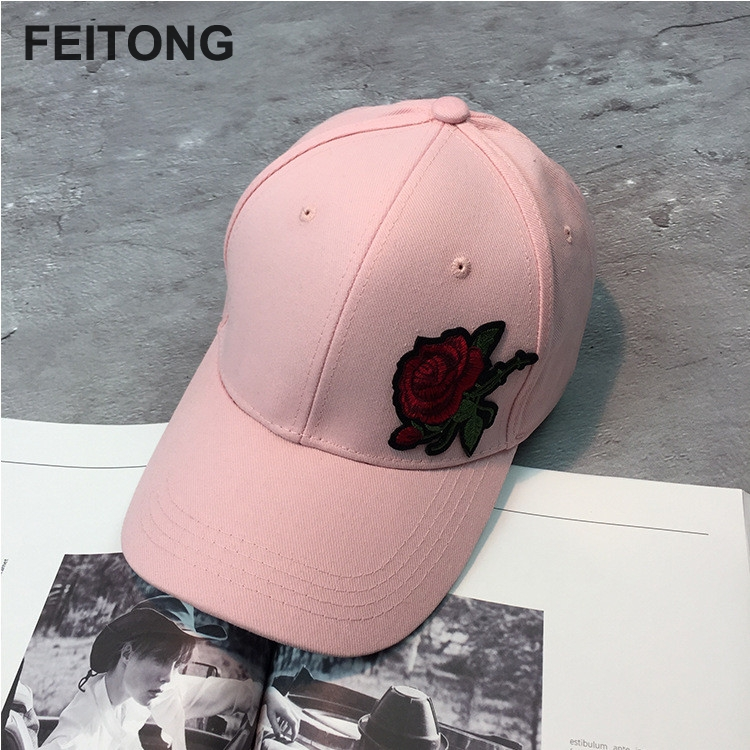 1 StÜck Sommer Hysteresenkappe Hip-hop Hut Flache Paar Rose Hüte Frauen Baseballmütze Unisex Justierbare Kappe Großhandel # Ew