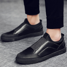 Large size 39-45 Elastic band men loafers sewing fashion comfortable men shoes leather breathable hard-wearing lazy shoes