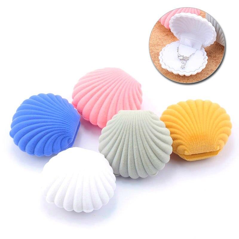 1 Stück Schöne Shell Form Schmuck Box Samt Hochzeit Ring Box Ohrringe Halskette Armband Display Geschenk Box Halter 5 Farben
