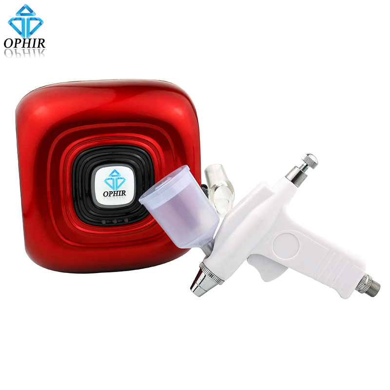 OPHIR Red Color Mini Air Compressor with 0.3mm Airbrush Kit for Beauty Essence Spraying Body Art Tattoo Tanning Set_AC123R+AC124 smart home uk 1 gang 1 way crystal glass panel smart remote switch 220v touch screen light switch remote switch with controller