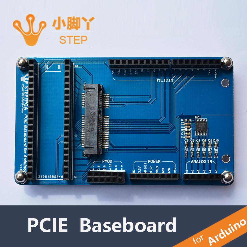The STEP FPGA extension board that supports the Arduino interface is